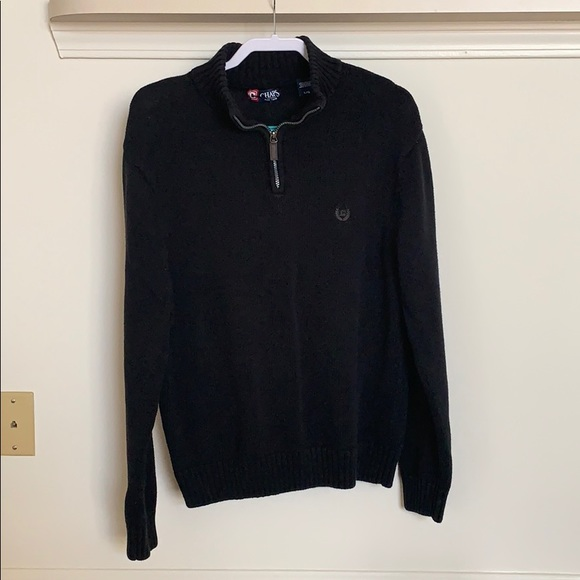 Chaps Other - Blacks and tan 1/4 (quarter) zip sweater.
